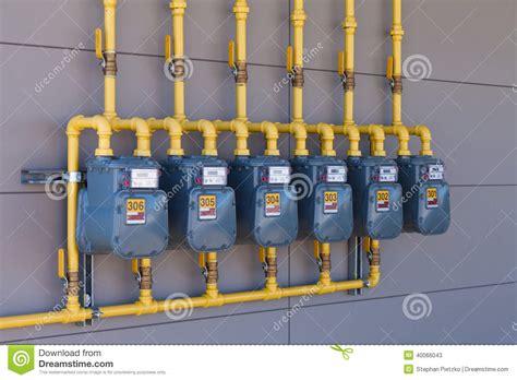 Gas Plumbing Supplies residential gas energy meters row supply plumbing stock