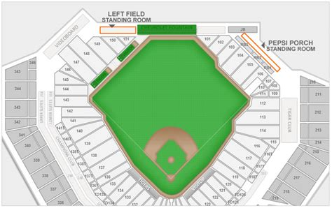 comerica park section map detroit tigers comerica park seating chart interactive