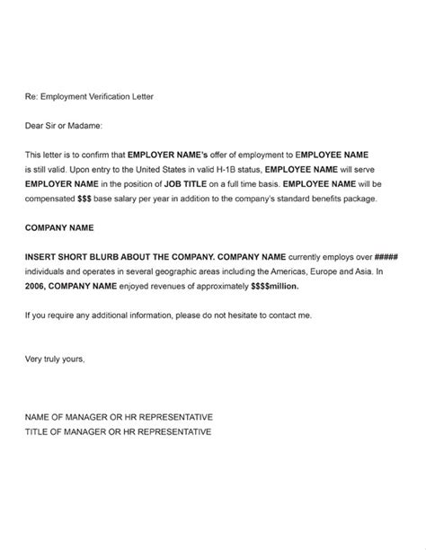 Visa Letter Of Employment H 1b Employment Verification Sle Letter