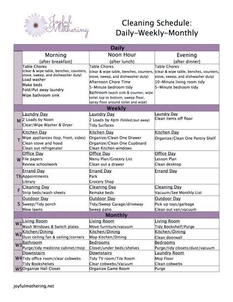 free printable cleaning schedule centsless deals