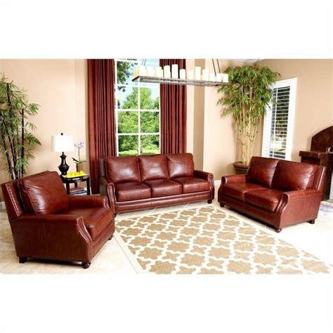 wohnzimmermöbel sets abbyson living bel air 3 leather sofa set in brown