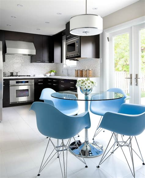 brandon barre blue kitchen breakfast bar light blue high eames molded plastic eiffel armchairs contemporary