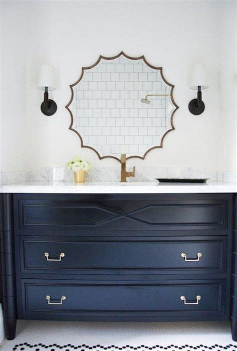 Trend Alert Navy Marble Brass In The Kitchen Bath Apartment Therapy Bathroom Vanity