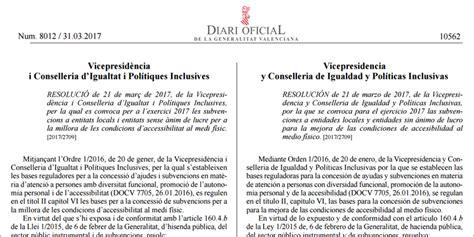 convocatorias comunidad valenciana 2016 i 2017 convocatoria de subvenciones para mejorar la accesibilidad