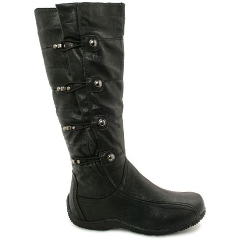 wide calf leather boots buy tania toggle knee high wide calf biker boots black