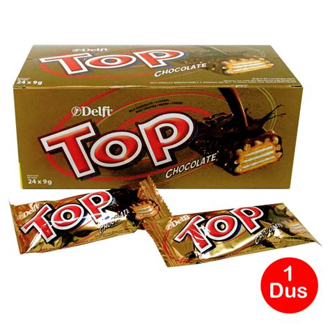 Coklat Top Delfi Isi 24 Pcs delfi top wafer cokelat 9gr isi 24pcs 1 dus box karton
