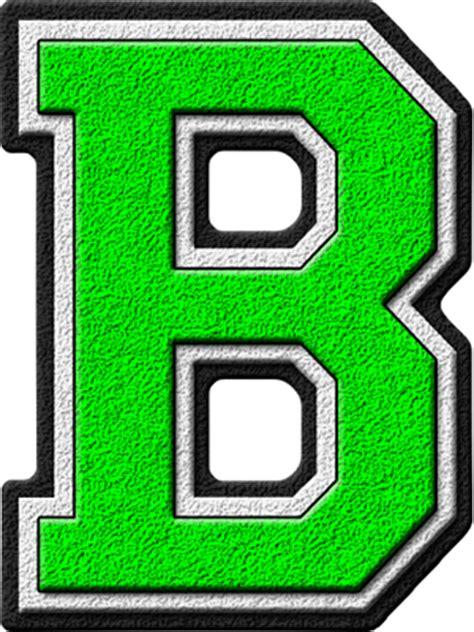 presentation alphabets kelly green varsity letter b