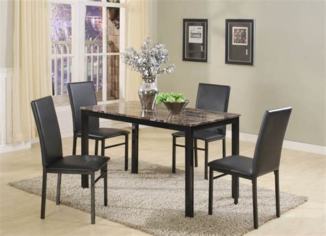 aiden black metal 5 pc dining set dining room furniture sets