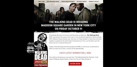The Walking Dead Carpet Sweepstakes - walking dead premiere tickets autos post
