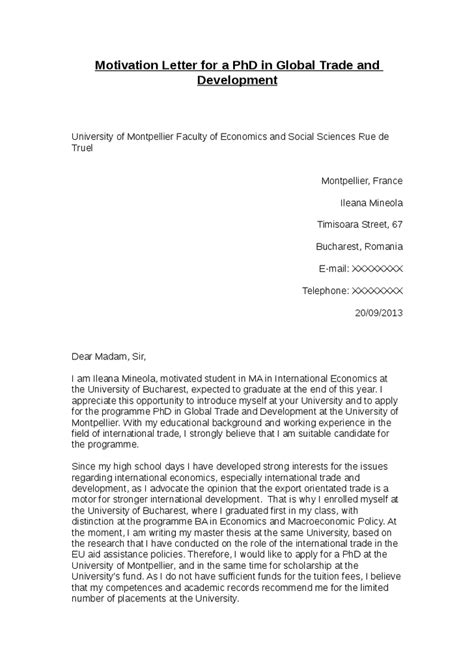 Motivation Letter Phd master thesis motivation letter