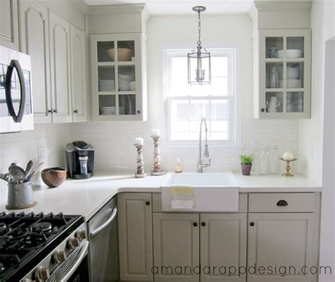 before and after kitchen makeover painted greige cabinets benjamin senora gray