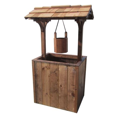 home depot wooden planters samsgazebos brown wooden wishing well planter wishing well l t the home depot