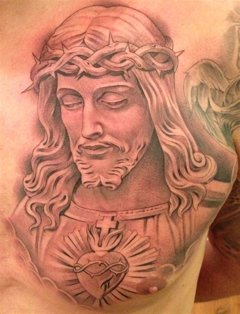 chest piece tattoos designs new by miguel ochoa of lowrider jesus religious