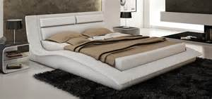 White Leather Platform Bed Wave King Size Modern Design White Leather Platform Bed Ebay