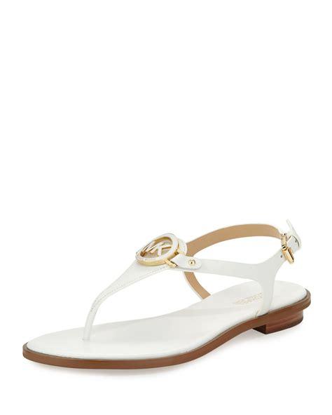 michael kors flat sandals michael michael kors leather flat t sandal in