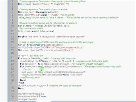 qtp tutorial website qtp elearn dynamic web table into an excel descriptive