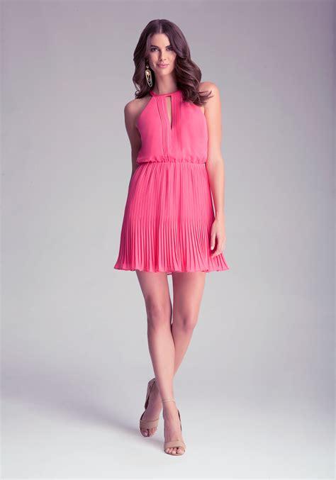 Sale Dress Bebe Halter 1 lyst bebe pleated halter dress in pink