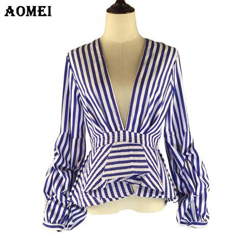 Stripe V Neck Top White Blue Size Ml puff sleeve blue white stripe blouse shirts ruffles trim