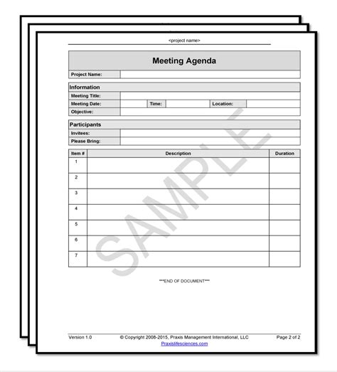 Meeting Agenda Template Fda Software Validation Templates