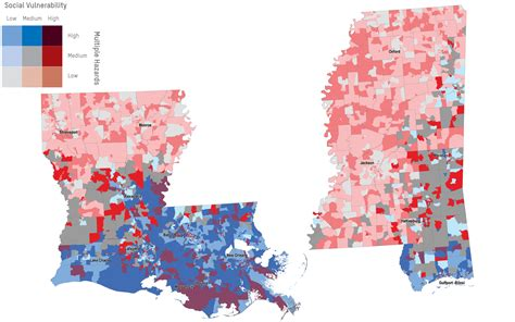 louisiana map climate change mapping social vulnerability in southeastern states and