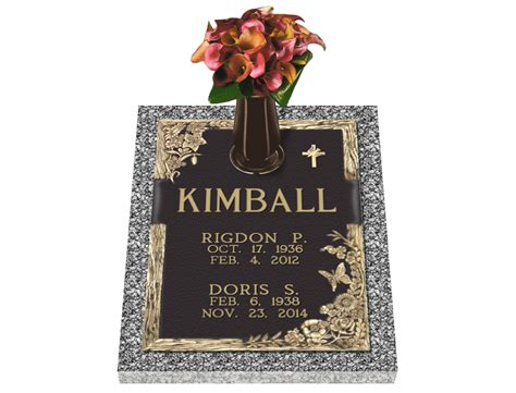 Flat Grave Markers With Vase by Dynasty Resurrection Interment Companion Bronze