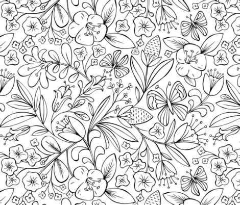 coloring book fabric enchanted garden coloring book floral black and white