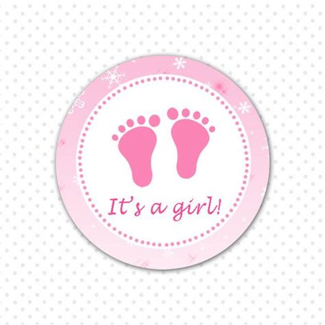 Giraffe Wall Sticker winter baby girl shower label cupcake topper or tag pink