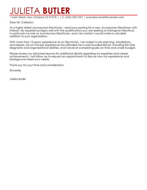 journeymen electricians cover letter examples