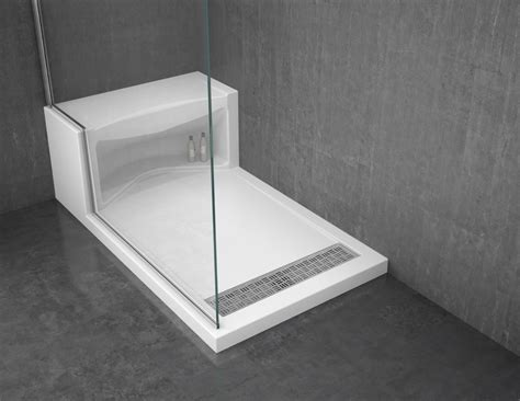 White Acrylic Shower Base With Seat 60 X 36 Plus Right