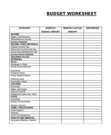 blank monthly expenses budget worksheet  samplebusinessresumecom samplebusinessresumecom