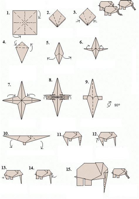 Elephant Origami Diagram - origami elephant make origami easy