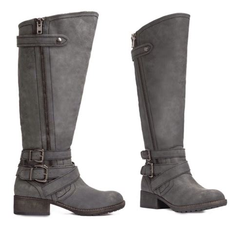 wide moto boots 53 justfab boots wide calf grey moto boots