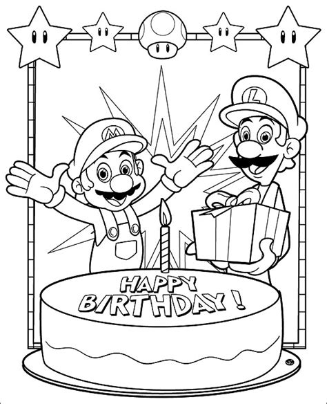 Happy Birthday Mario Coloring Pages | mario coloring pages to print minister coloring