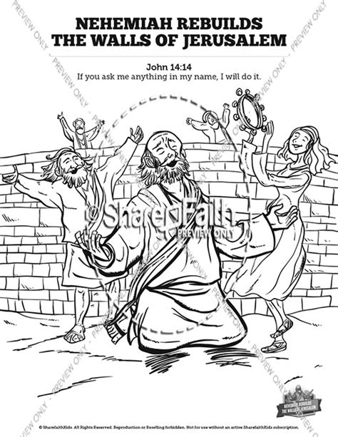 coloring page for nehemiah rebuilding the wall book of nehemiah sunday school coloring pages sunday