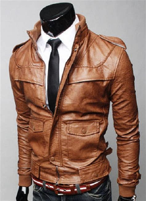 jacket color brown color leather jacket with rib collar mens slim