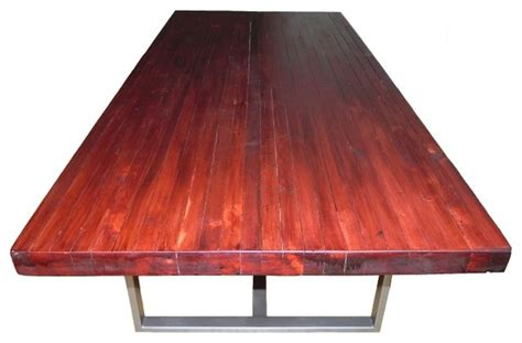 modern butcher block dining table dining table with a butcher block top and modern steel