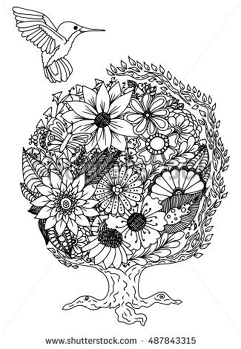 doodle analysis flowers lantern decorated floral patterns zentangle stock