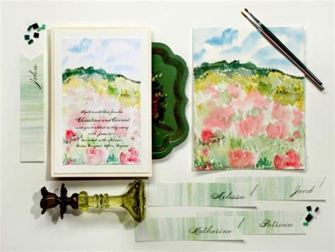 painted watercolor wedding invitations handpainted wedding invitations by momental designs 183 ruffled