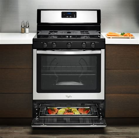 bottom drawer of stove use whirlpool wfg505m0bs 30 inch freestanding gas range with 5