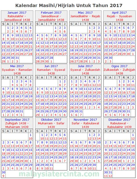 Calendar 2018 Malaysia Puasa Kalendar Islam 2017 Masihi 1438 1439 Hijrah