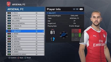 arsenal pes stats pes 2017 arsenal london squad and faces cech koscielny
