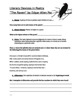 edgar allan poe biography worksheet answers collection of literary device worksheet bluegreenish