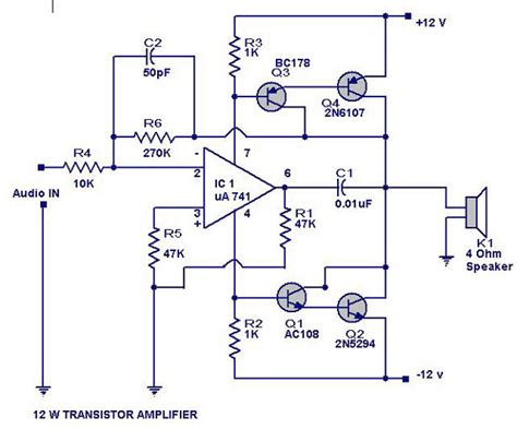 d1047 transistor uses 12 watts transistor lifier circuit diagram electrical electronics concepts