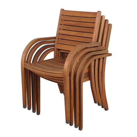 Stackable Patio Chair Shop International Home Set Of 4 Amazonia Slat Seat Wood Stackable Patio Dining Chairs At Lowes