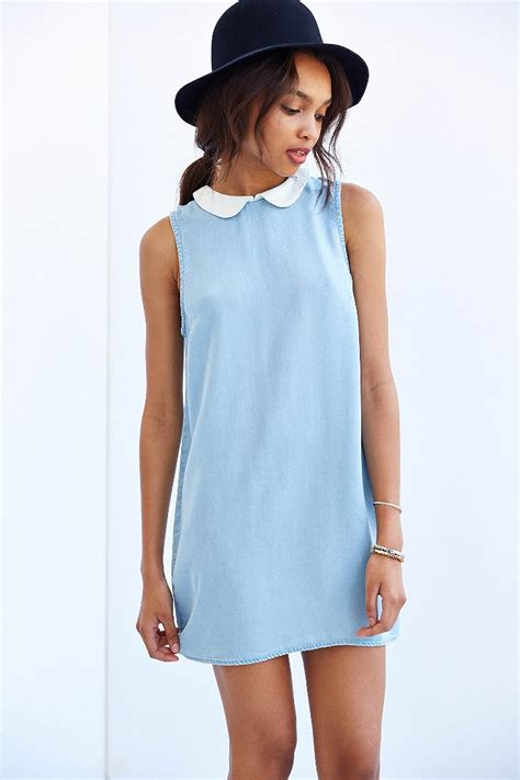 Light Blue Shift Dress by Bdg Collared Chambray Shift Dress In Blue Light Blue Lyst
