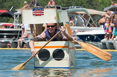 cardboard boat paddles ahoy mi matey wacky competitors race cardboard boats with