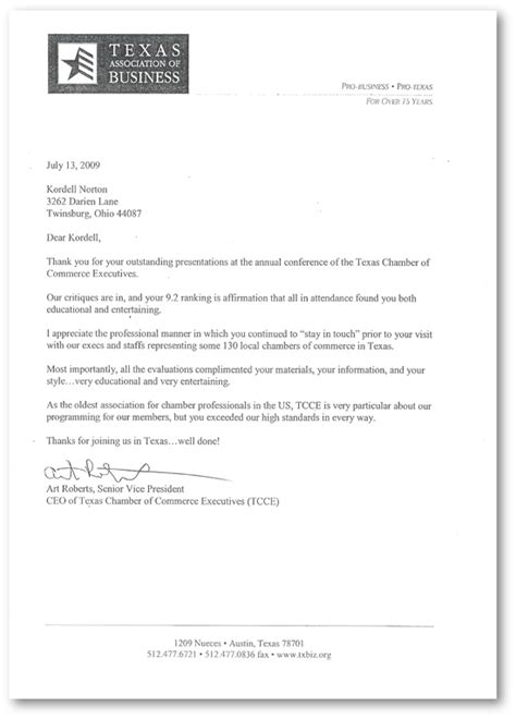 Service Letter For Marketing Executive Chamber Of Commerce Executives Kordell Norton Csp America S Charisma Consultant