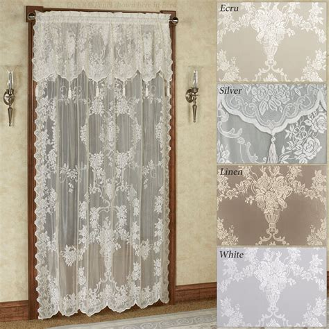 lacy curtains easy style carly lace curtain panel with attached valance