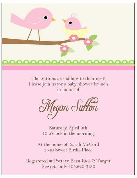 The sweet peach paperie little birdie baby shower invitations