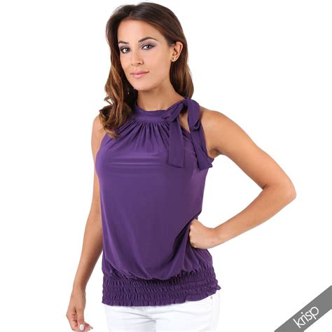 Blouse Top halter neck draped ruched top blouse flattering bow tie summer evening ebay
